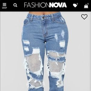 Fashion Nova Light Blue Boyfriend Jeans Rhinestone